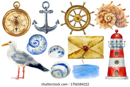 Watercolor nautical elements isolated on white background: anchor, steering wheel, retro envelope, compass, lighthouse, shells, stones, gull. Hand painted. Perfect for creating cards,  design.