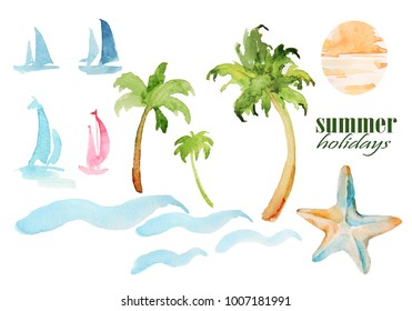 Watercolor nautical theme on white background.  Items summer vacation: palm trees, umbrellas, waves can be used to design greeting cards, wedding invitation, birthday, calendar, photo album, books