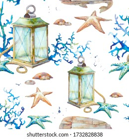 Watercolor nautical wallpaper. Vintage sea decor seamless pattern. Lantern, coral, stones, wooden whale texture.