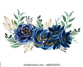 Watercolor navy blue gold green bouquet illustration Painted composition of flowers for design Greeting card Valentine's Day, Mother's Day, Wedding, Birthday