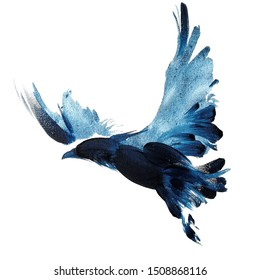 Watercolor navy blue hand drawn flying  raven with spread wings 64