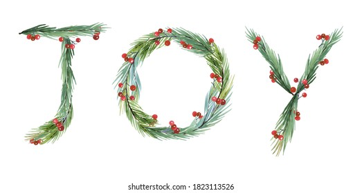 Watercolor  new year 2021 Joy Symbol. Christmas Card Greenery clipart,  New Year Watercolor Clip Art, christmas  wreath, Lettering