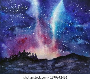 Watercolor night landscape with starry sky, mountains and forest
