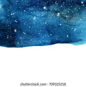 Watercolor night sky background with stars. cosmic layout with space for text.