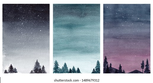 Watercolor night sky illustration. Collection of beautiful landscapes with starry sky. Hand drawn high resolution illustration for posters, postcards, invitations and other design.