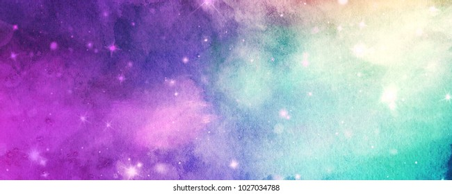 Watercolor night sky with shining stars, fantasy background, colorful banner