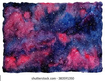 Watercolor night sky with stars. Colorful universe illustration. Beautiful cosmic abstract background with rough, uneven edges. Black, blue, pink, violet watercolour stains.