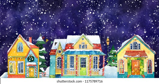 Watercolor Night Winter Street Village City with Snowfall. Hand drawn illustration.