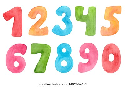 Watercolor numbers of bright colors. Set of funny kids numbers. - Shutterstock ID 1492667651