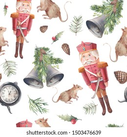 Watercolor Nutcracker and mouses seamless pattern. Christmas wallpaper in vintage style. Wooden toy, fir, pinecone, bells, christmas tree on white background