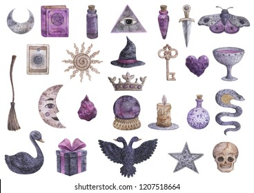 Watercolor object on the theme of mysticism and magic. Elixir, magic ball, crystal, stone, crown, crescent, dagger, knife, key, star.