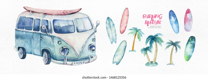 Watercolor ocean surf beach, adventure, bike and motorollier, fun holiday activity, tropical travel illustration. Island summer, retro car and surfboards