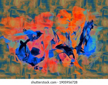 Watercolor, oil, grunge background Texture of strokes of colored paint, blurred spots with brushes of different sizes and shapes.