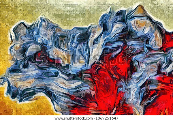 Watercolor texture of strokes of colored paint, blurred spots with brushes of different sizes and shapes.