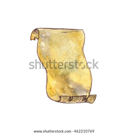 watercolor old parchment paper scroll isolated stock illustration