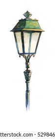 Watercolor of an old street lamp, retro