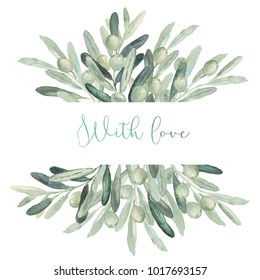 Watercolor olive floral illustration - olive bouquet frame / border for wedding stationary, greetings, wallpapers, fashion, backgrounds, textures, DIY, wrapping, postcards, logo, branding, etc.