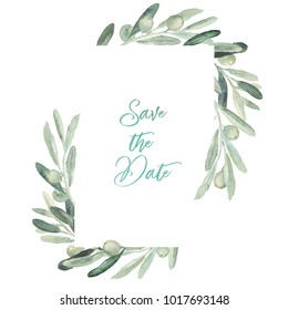 Watercolor olive floral illustration - olive branch frame / border for wedding stationary, greetings, wallpapers, fashion, backgrounds, textures, DIY, wrapping, postcards, logo, branding, etc.