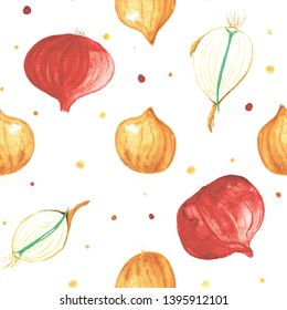 Watercolor onions and section of a bulb vegetables seamless pattern with dots on white background