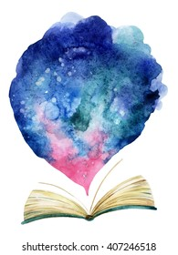 Watercolor open book with magic cloud. The whole world in one book. Hand painted book illustration for educational design