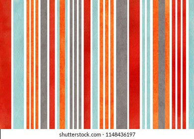 Watercolor orange, blue, red and gray striped background