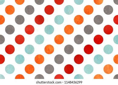 Watercolor orange, blue, red and gray polka dot background. Pattern with polka dots for scrapbooks, wedding, party or baby shower invitations.