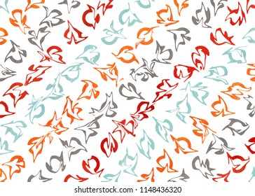 Watercolor orange, blue, red and gray abstract pattern. Ornament for fashion textile, cloth, backgrounds