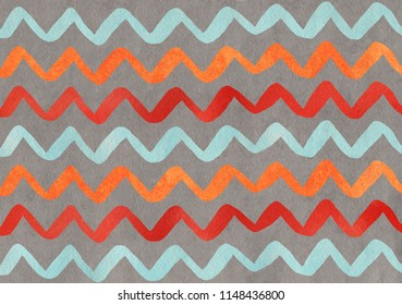Watercolor orange, blue, red and gray hand painted stripes pattern, chevron.