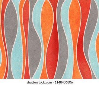 Watercolor orange, blue, red and gray striped background. Curved line pattern.