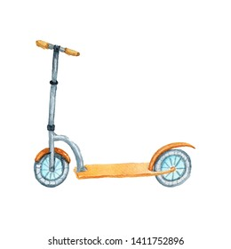 Watercolor orange children scooter, two weels. Isolated clipart