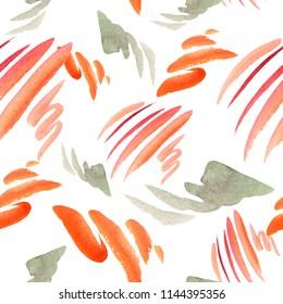 Watercolor orange gazania flowers. Floral botanical flower. Seamless background pattern. Fabric wallpaper print texture. Aquarelle wildflower for background, texture, wrapper pattern, frame or border.