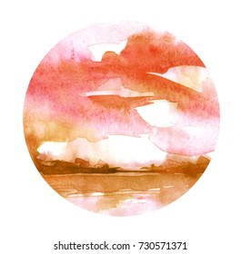 Watercolor orange, red, brown background. Sky, water, reflection in water, horizon line, silhouette of trees. Country landscape. Abstract background, splash of paint. Picture of the sunset.