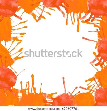 Watercolor Orange Splash Border Frame Abstract Stock Illustration ...