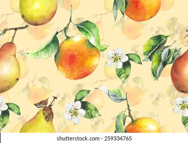 Watercolor oranges and pears pattern on peachy ivory background
