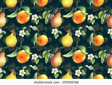 Watercolor oranges and pears pattern on dark blue background