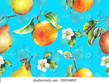 Watercolor oranges and pears pattern on bright electric blue background