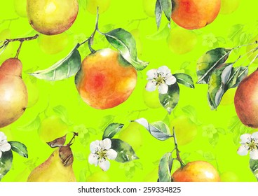 Watercolor oranges and pears pattern on bright golden yellow background