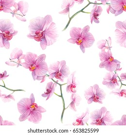 Watercolor orchid flowers seamless pattern. Hand drawn wallpaper design. Repeating texture with floral branches and pink flowers on white background.