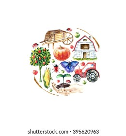 Watercolor organic farm round frame. Hand drawn objects: tractor, sunflower, truck, fence, basket, butterfly, ladybug, pumpkin, corn and spica.