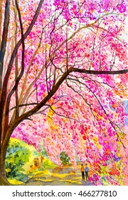 watercolor original landscape painting pink color of wild himalayan  cherry and the lovers in emotion of mountain background.