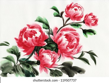 87f5a9aaa Chinese Rose Painting Stock Illustrations, Images & Vectors ...