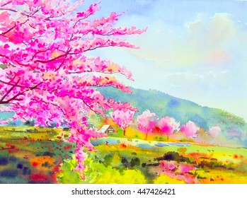 Watercolor original painting purple. pink color of wild himalayan cherry flower and green field in beauty mountain background