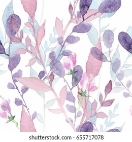 Watercolor ornament of wildflowers for wedding invitations, holiday cards, greeting cards, posters, books, envelopes, photo album. Illustration on isolated background.