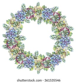 Watercolor ornate wreath of succulents. Hand drawn raster illustration
