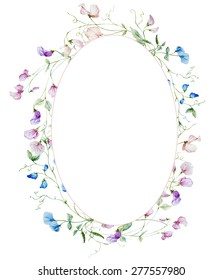 watercolor oval element frame with flowers peas