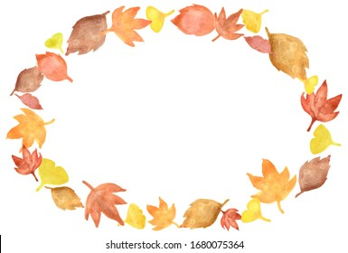 Watercolor oval frame Fallen leaves