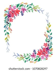 Watercolor oval frame with field flowers and gently green twigs on a white background.