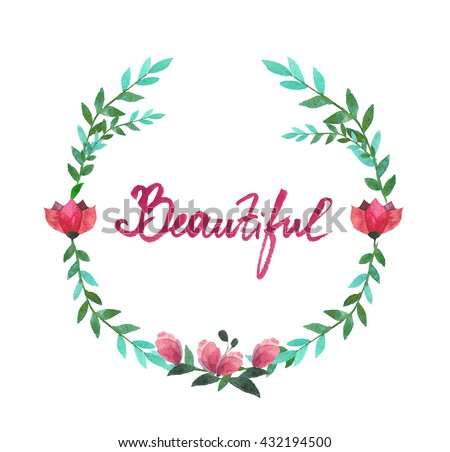 8857b05ae383 Watercolor Oval Frame Flowers Leaves Stock Illustration - Royalty ...