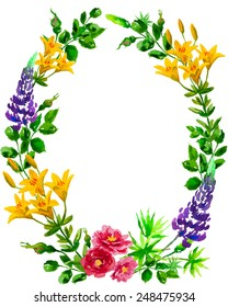 Watercolor oval Lilly, Lupine and Rose wreath isolated on a white background