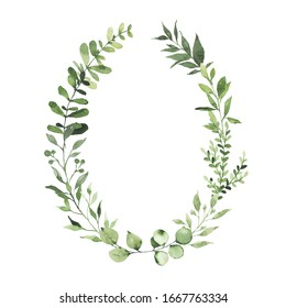 Watercolor oval wreath with greenery leaves branch twig plant herb flora isolated on white background. Botanical spring summer leaf decorative illustration for wedding invitation card